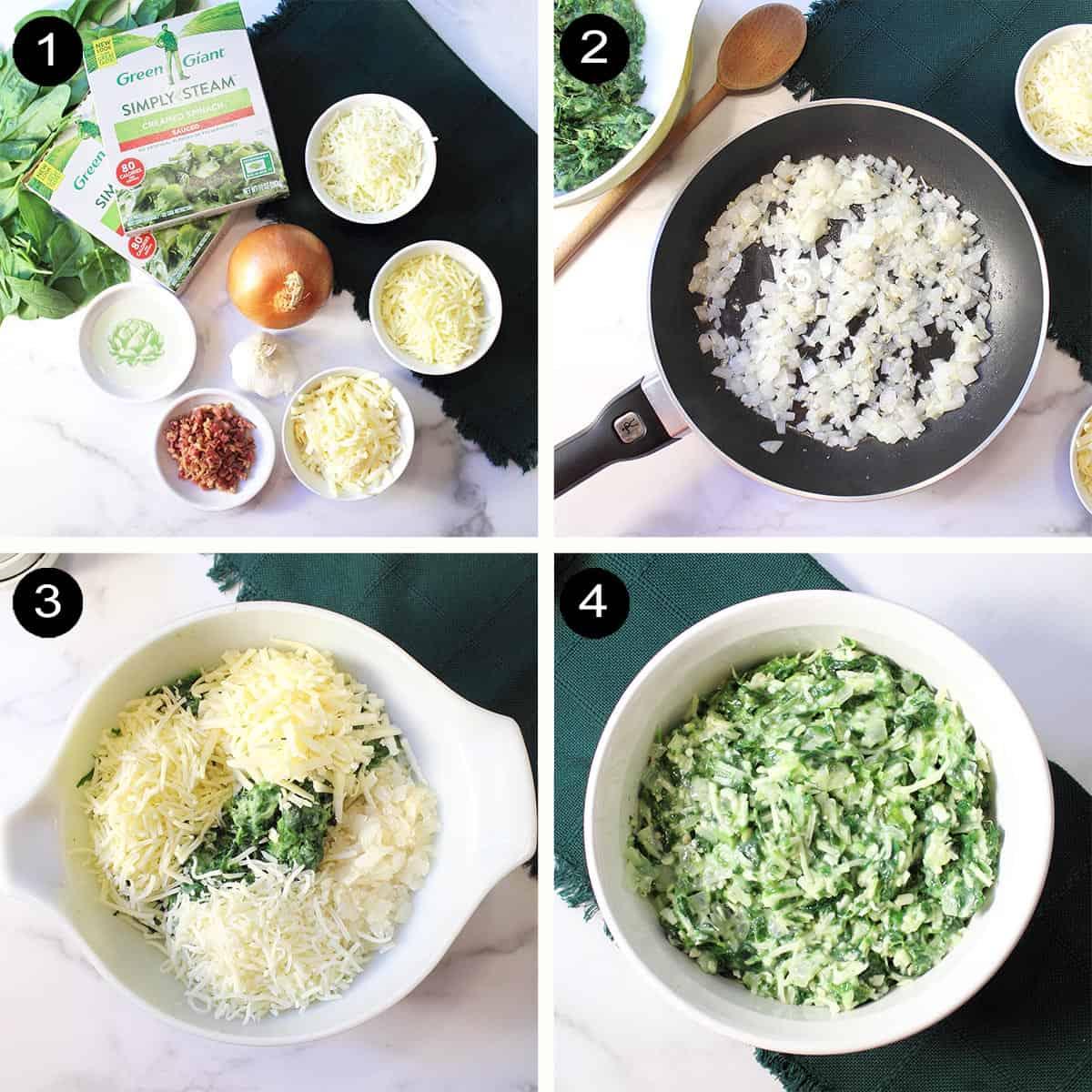 Prep steps for cheesy spinach dip.