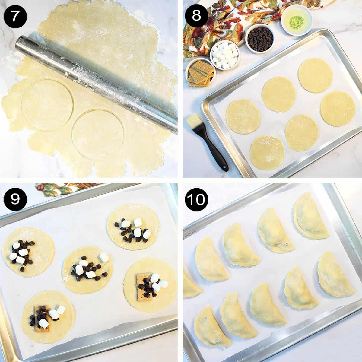 Rolling dough and filling with chocolate chips and marshmallows.