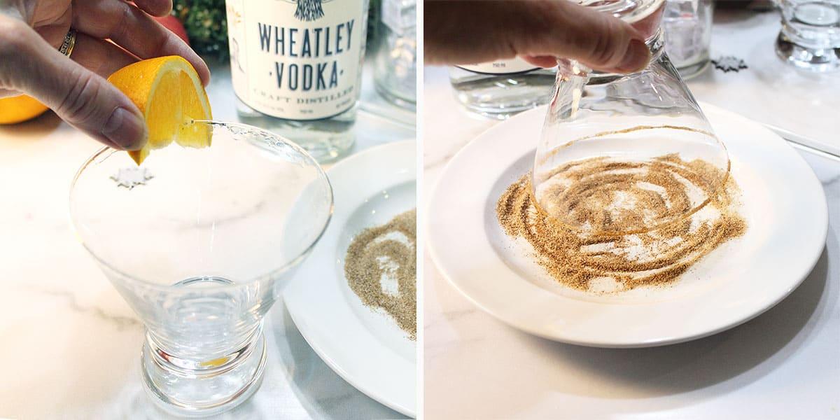 Coating rim of glass with cinnamon sugar.