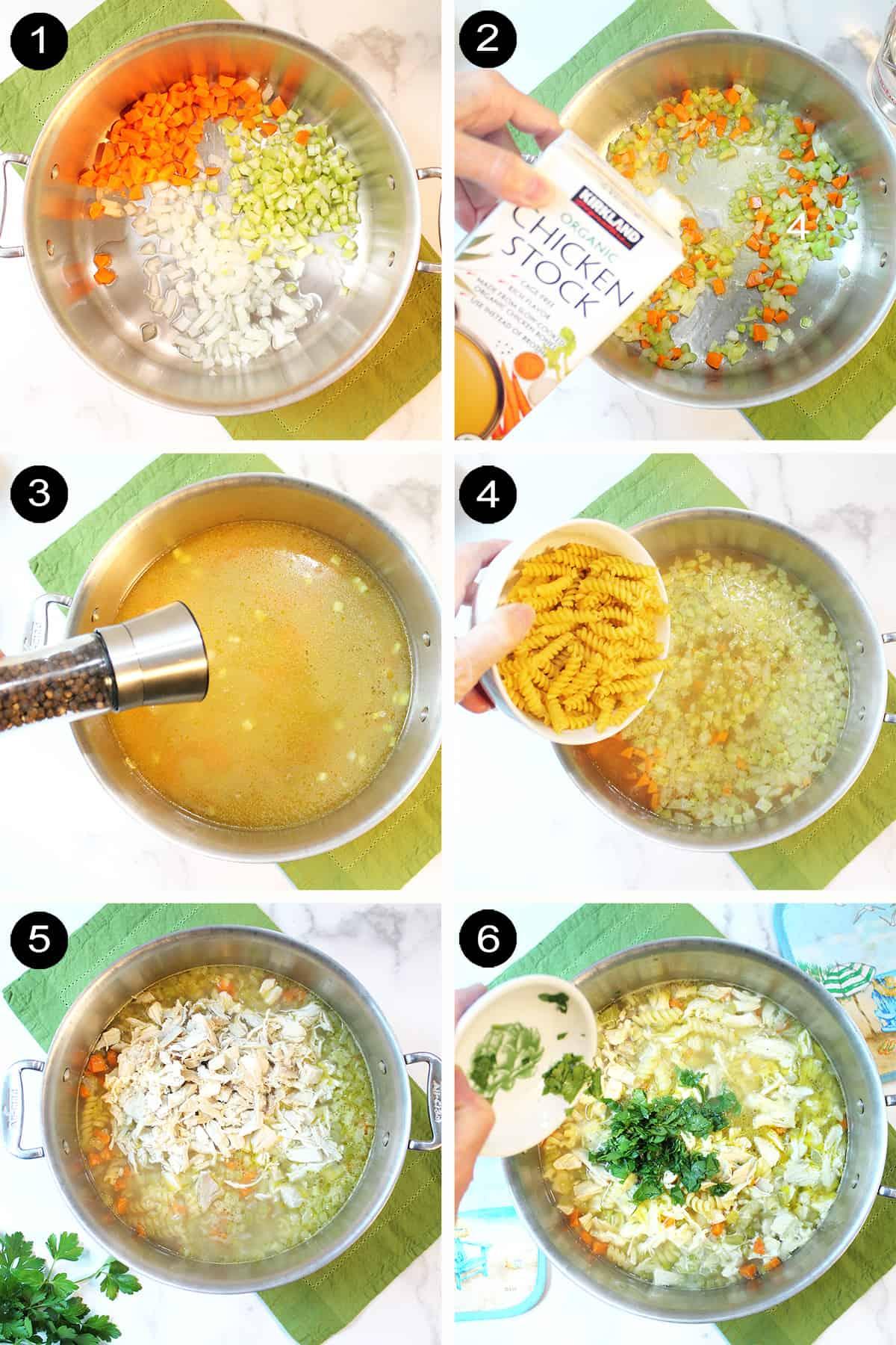 Prep steps to make homemade soup.