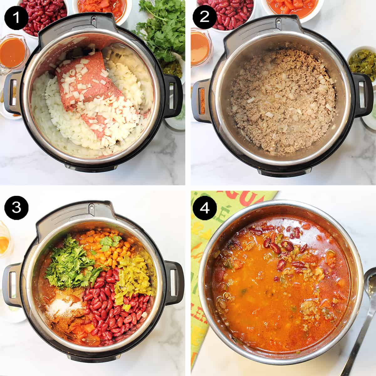 Slow Cooker Taco Chili prep steps 1-4.
