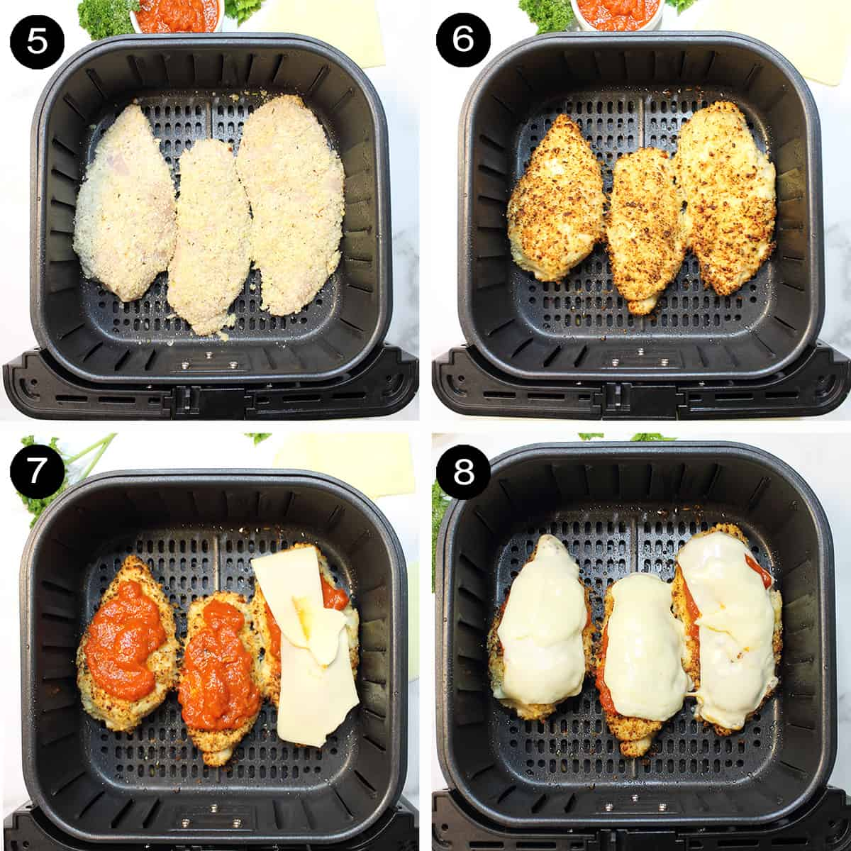 Finishing steps to cook and top chicken with sauce and cheese.