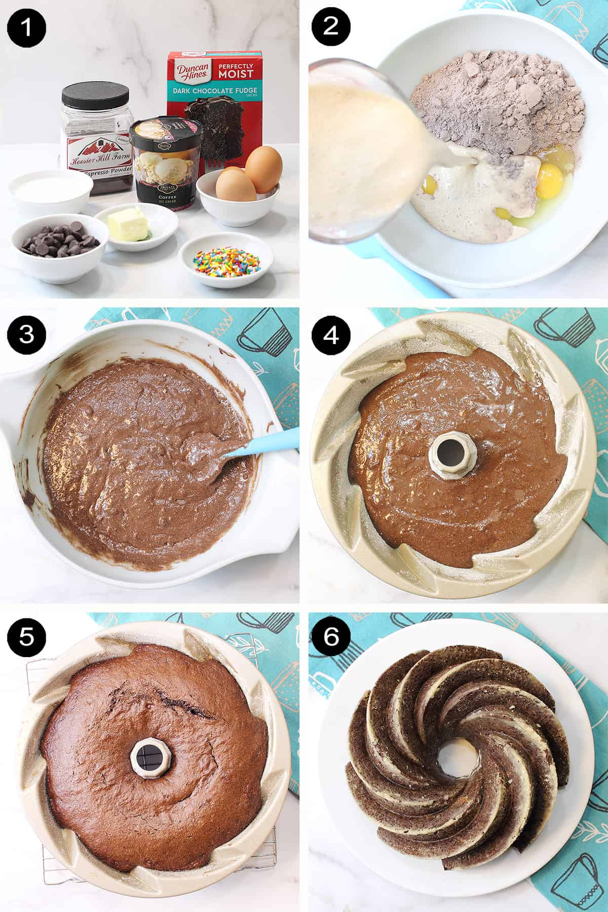Steps to make melted ice cream cake.