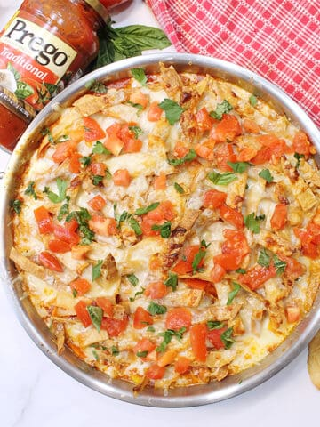 Overhead of One Skillet Turkey Chili Pie with Prego sauce.
