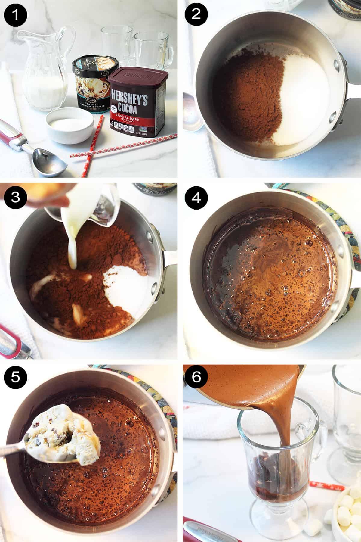 Prep steps to make salted caramel hot chocolate.