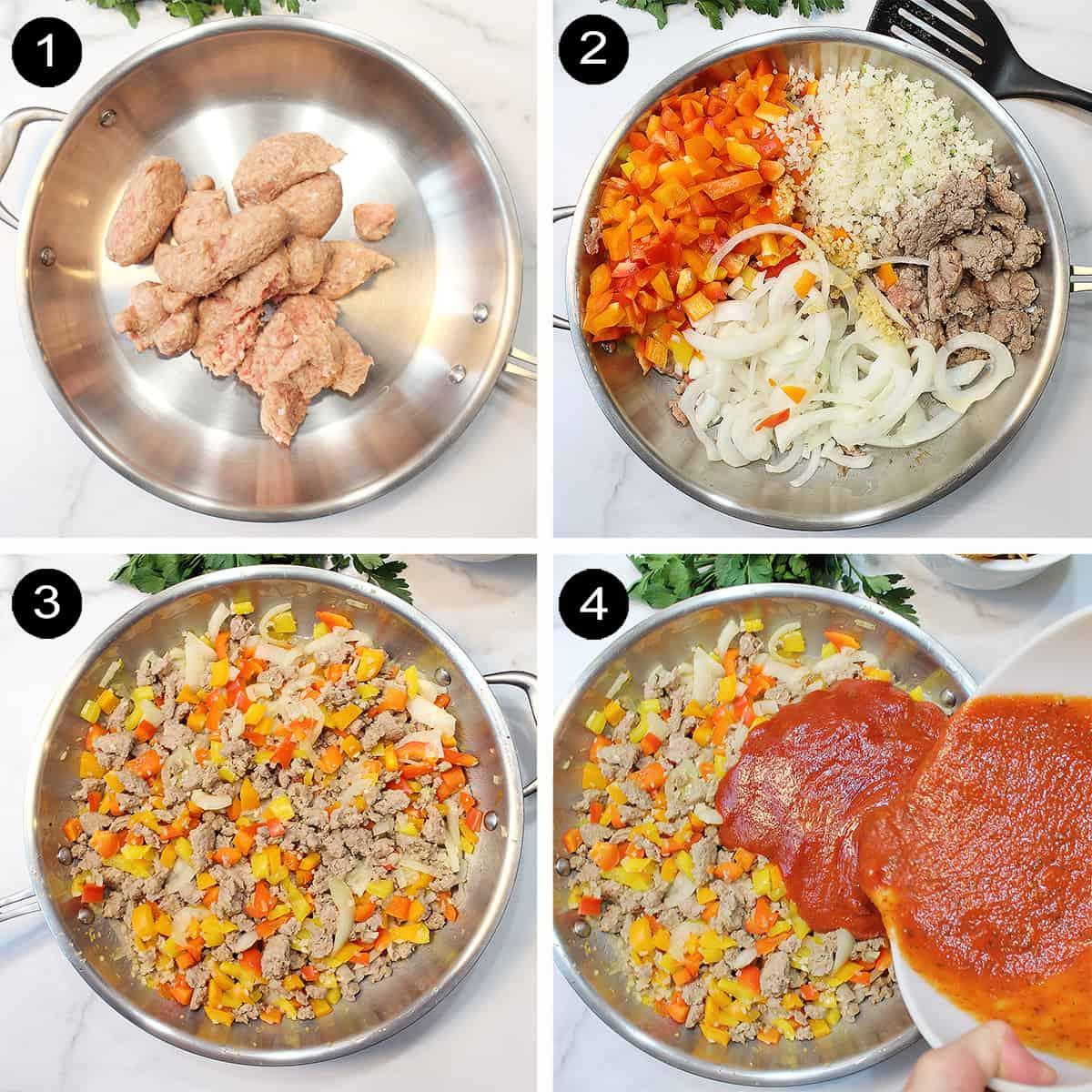 Prep steps for Baked Frito Pie Steps 1-4.