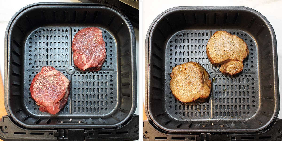 Uncooked and cooked steak in air fryer basket.
