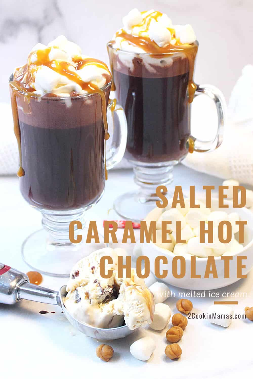Salted Caramel Hot Chocolate with Melted Ice Cream