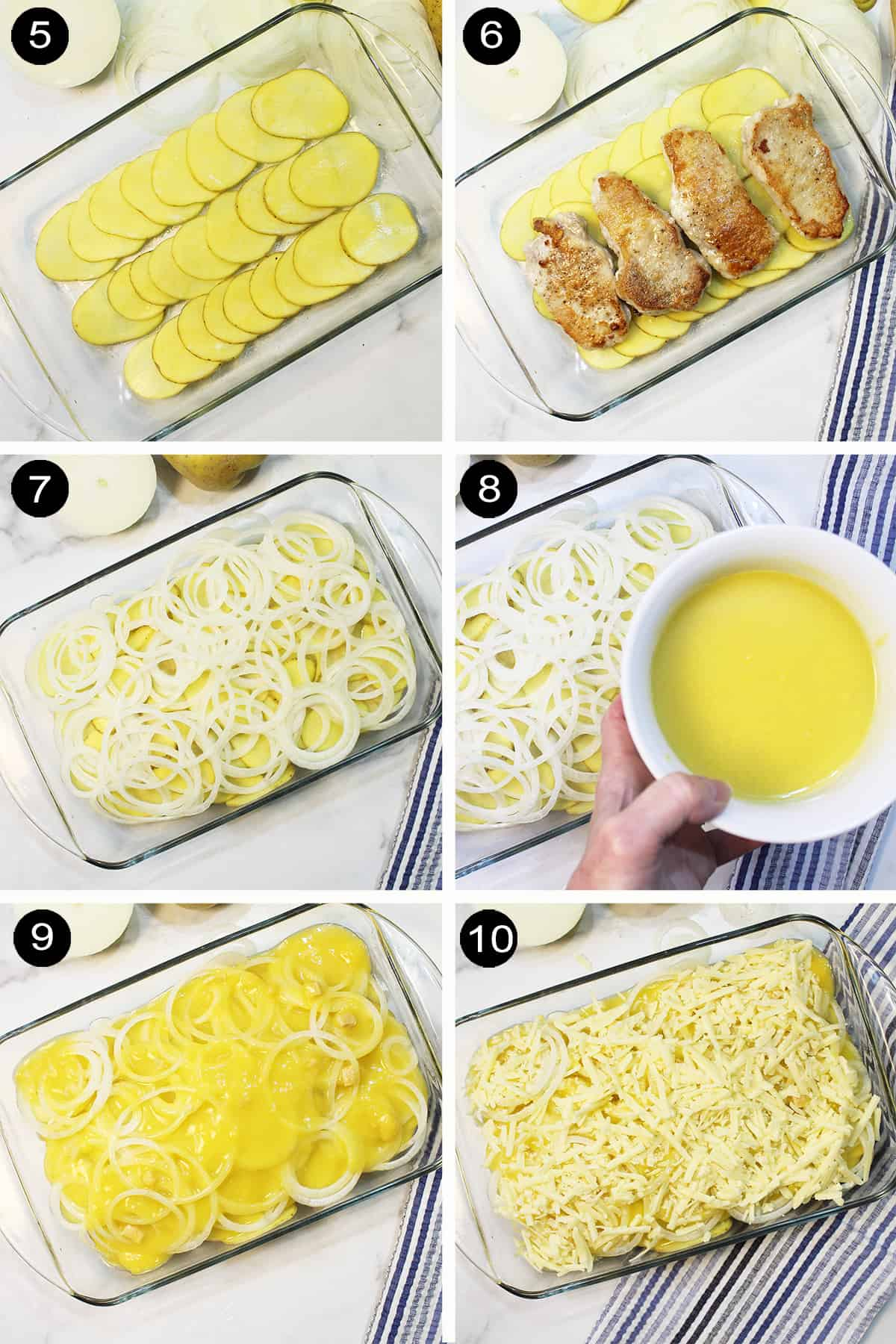 Assembly steps for layering casserole.