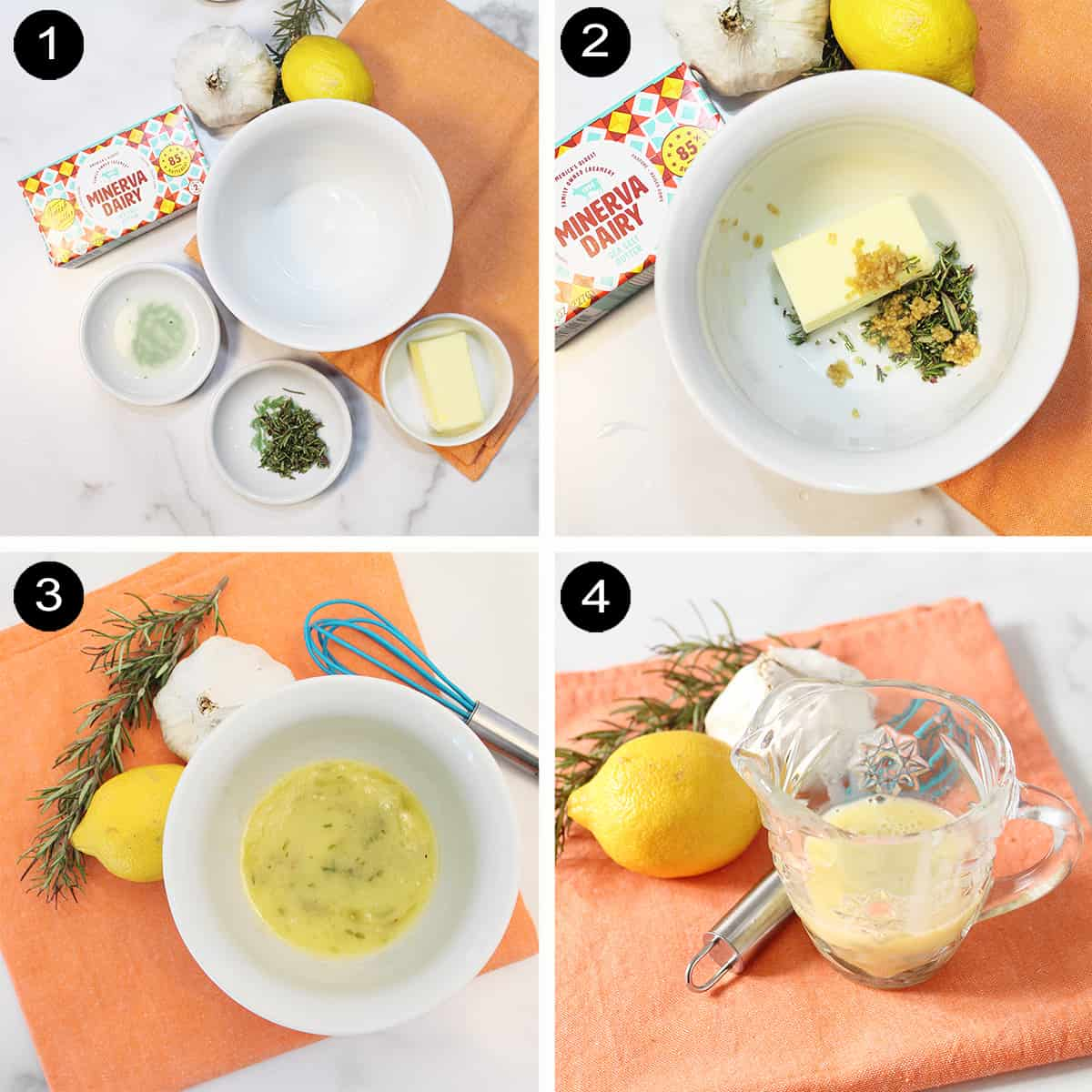 Making lemon butter sauce prep steps.