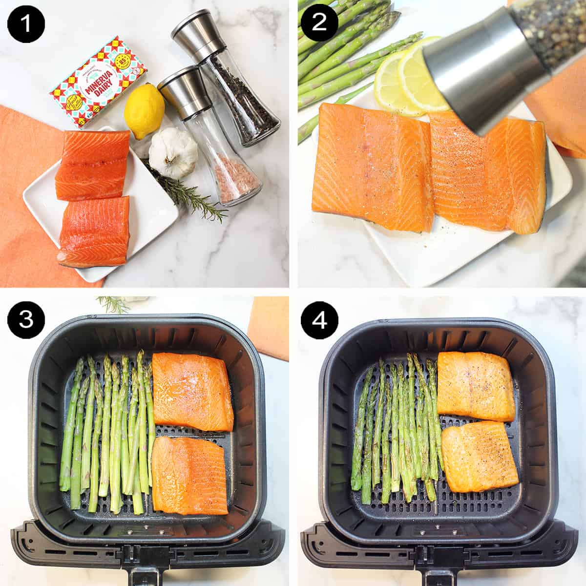 Prepping salmon and cooking salmon and asparagus in air fryer.