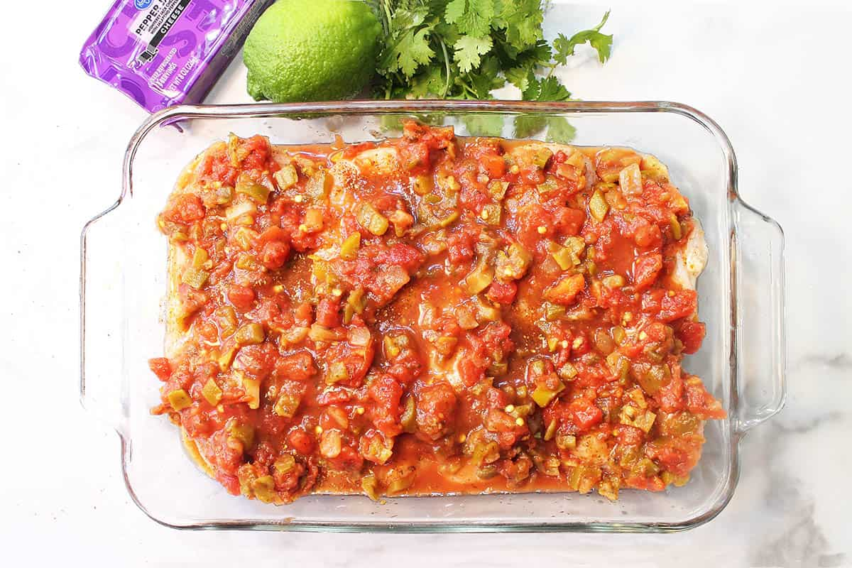 Salsa poured over chicken in baking dish.