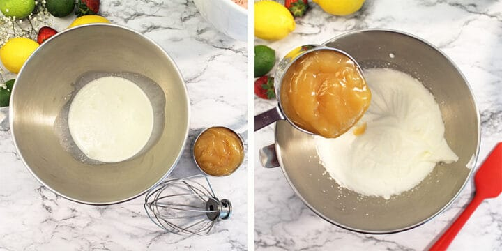 Making lemon filling with whipped cream and lemon curd.