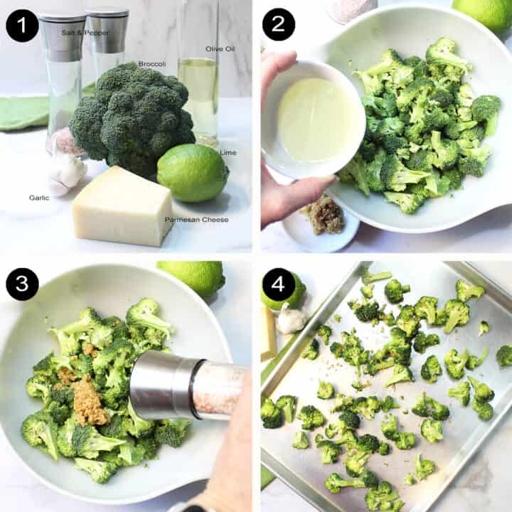 Prepping broccoli for oven.