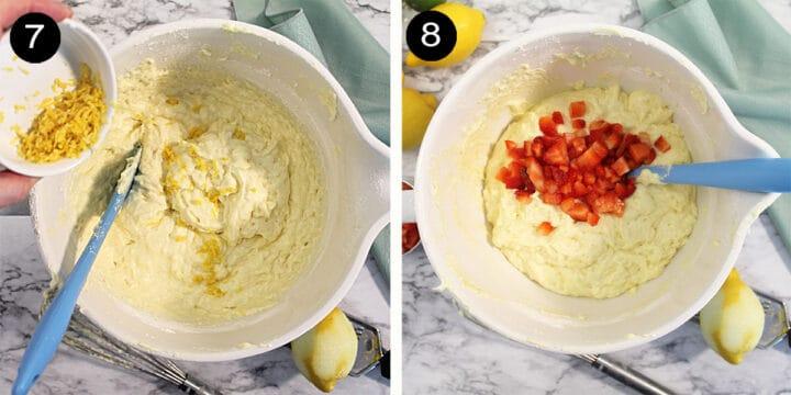 Adding lemon zest and strawberries to cake batter.
