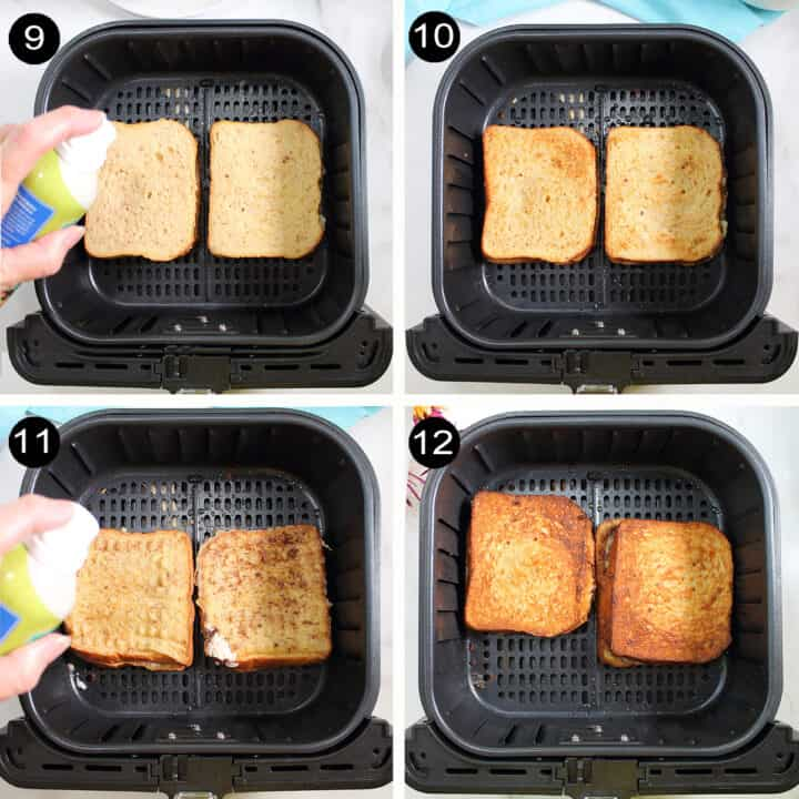 Steps to air fry French Toast.