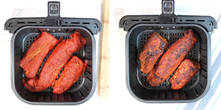 Before and After tenderloin in air fryer.