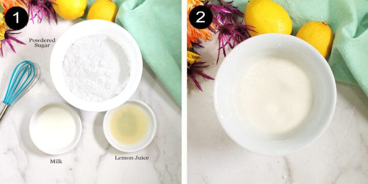 Lemon glaze ingredients and mixed glaze.