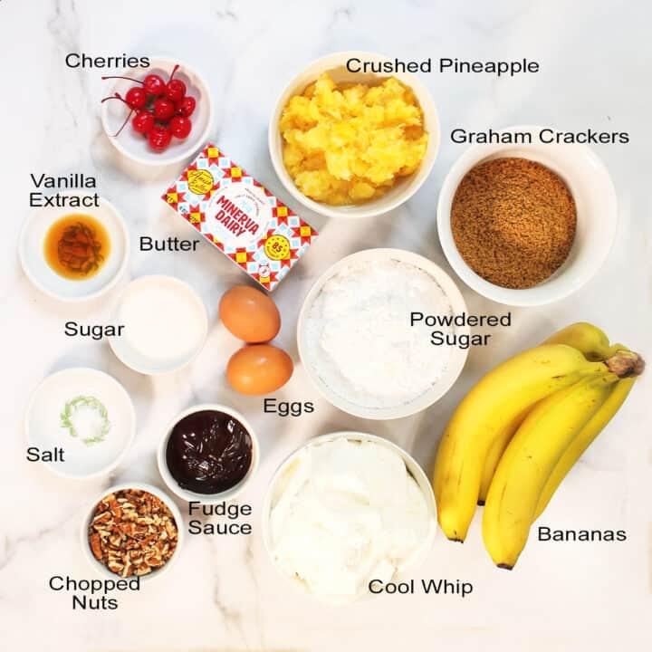 Ingredients for No Bake Banana Split Cake.