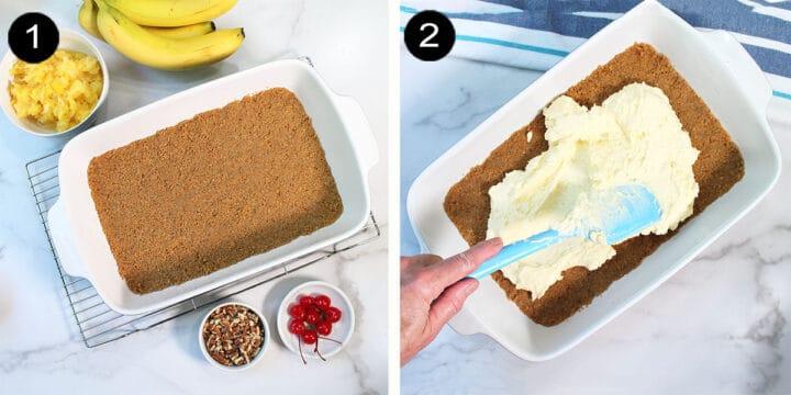 Steps to layer dessert.