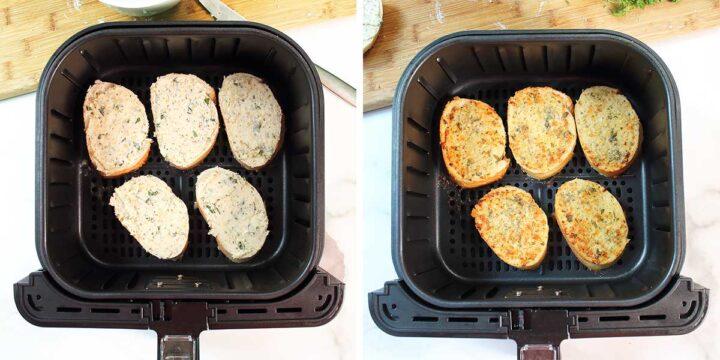 Steps to air fry garlic bread.