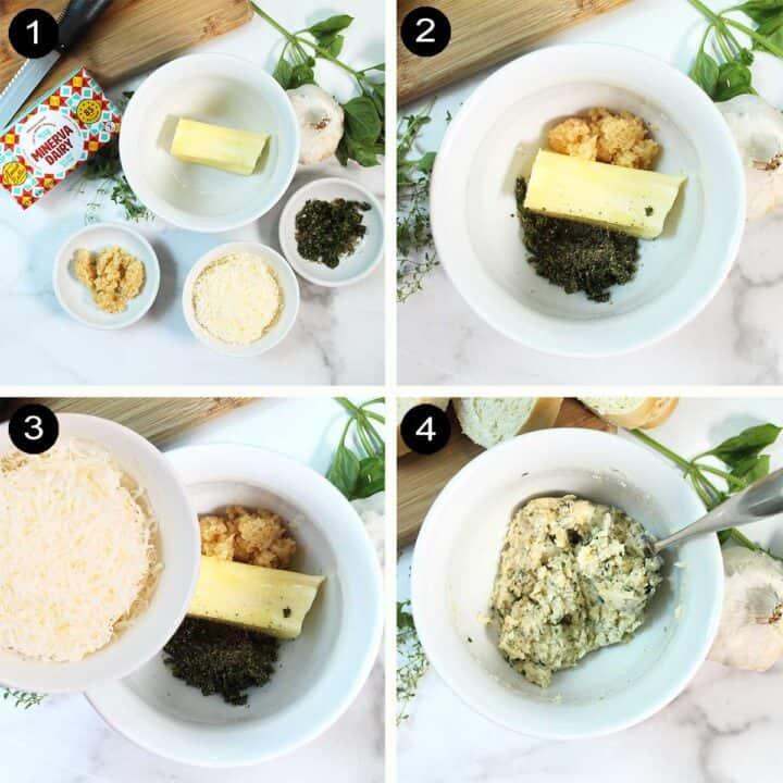 Steps to make garlic butter spread.