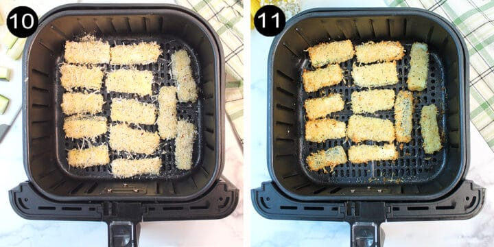 Air frying zucchini fries before and after.