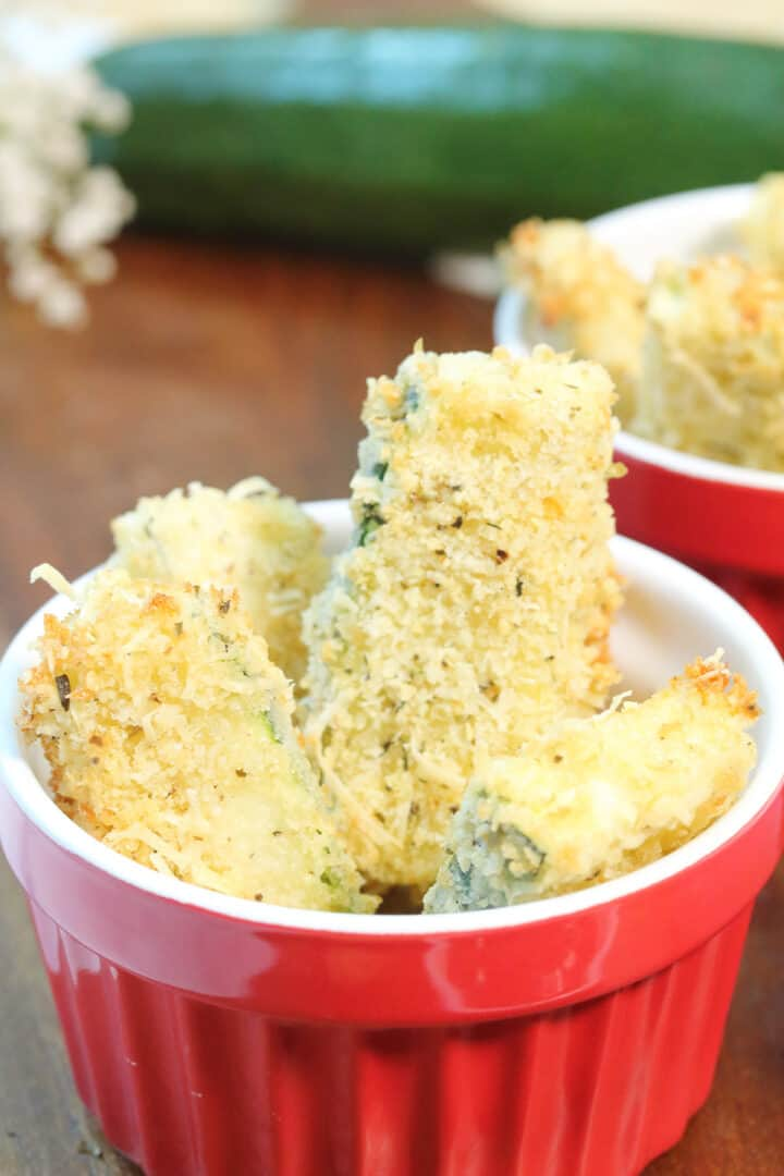 Closeup on serving fo zucchini fries in red bowl.