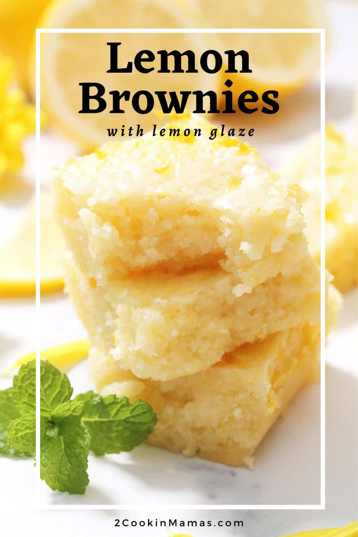 Easy Lemon Brownies with Lemon Glaze