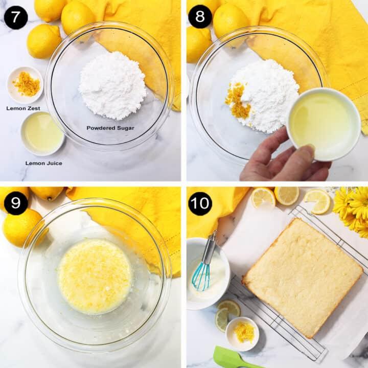Making lemon glaze steps.