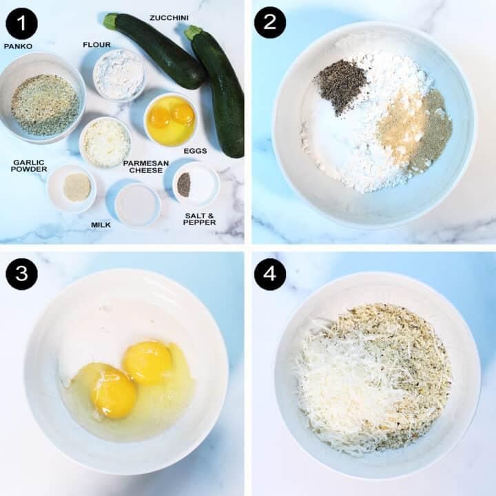Steps 1-4, preparing coatings for fries.