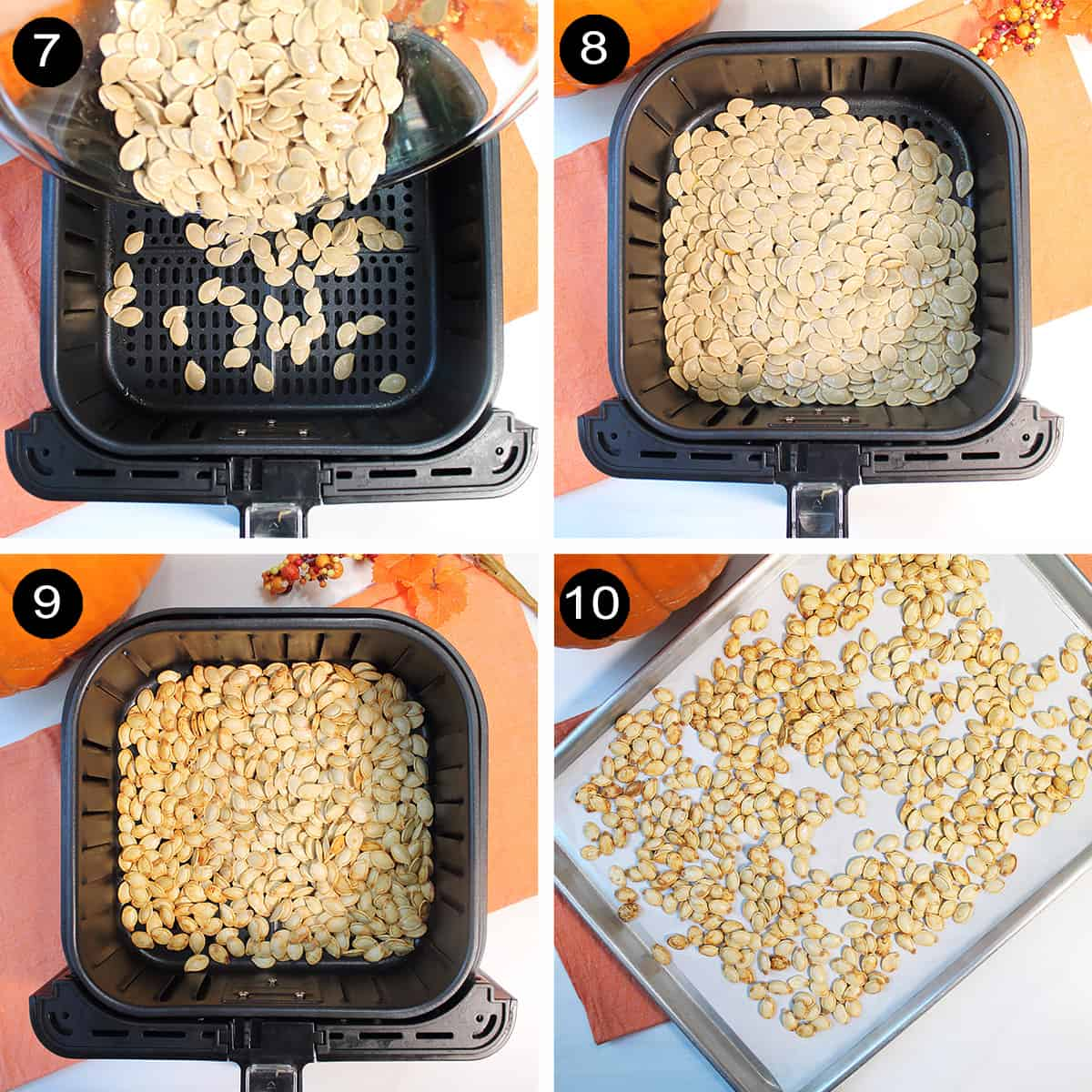 Collage of air fryer steps for roasting seeds.