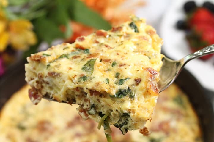 Closeup of slice above baked frittata.