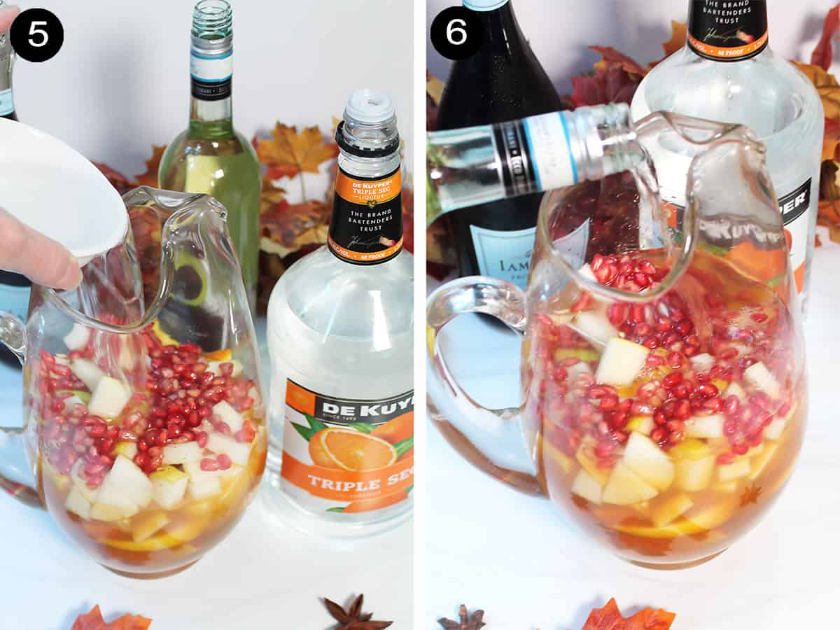 Collage showing adding in triple sec and wine to pitcher.