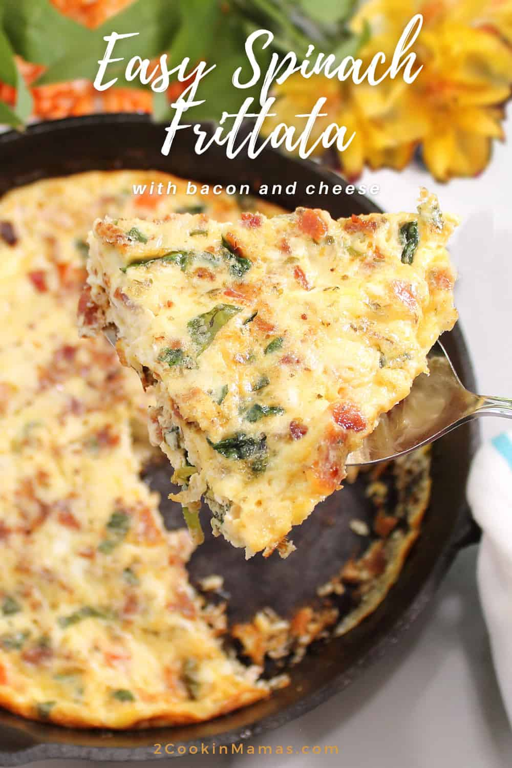 Easy Spinach Frittata with Bacon and Cheese