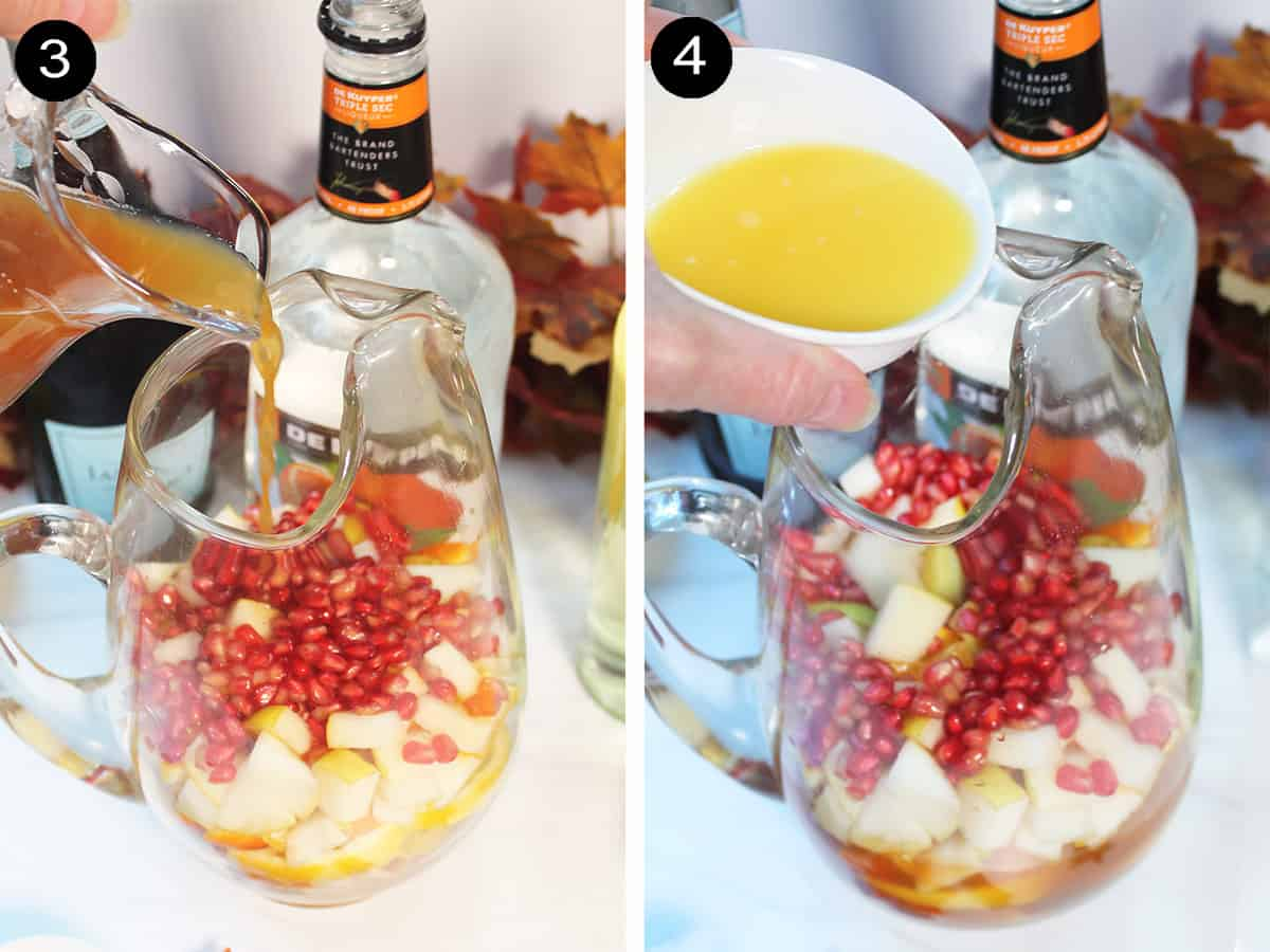 Collage showing pouring in cider and orange juice.