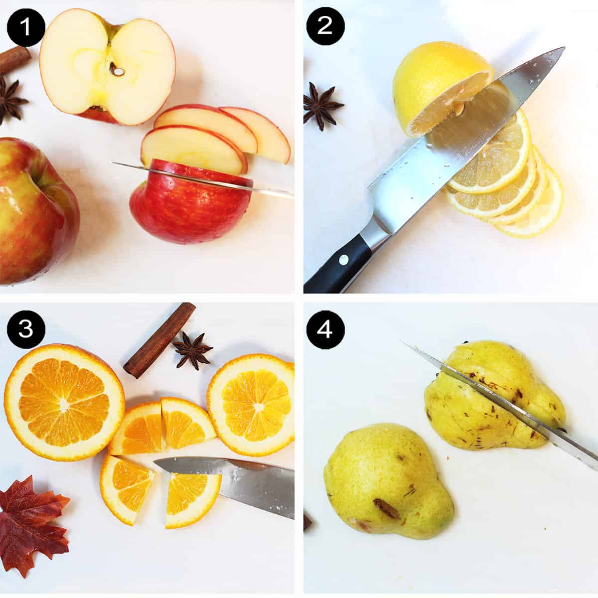 Collage of sliced fruits.
