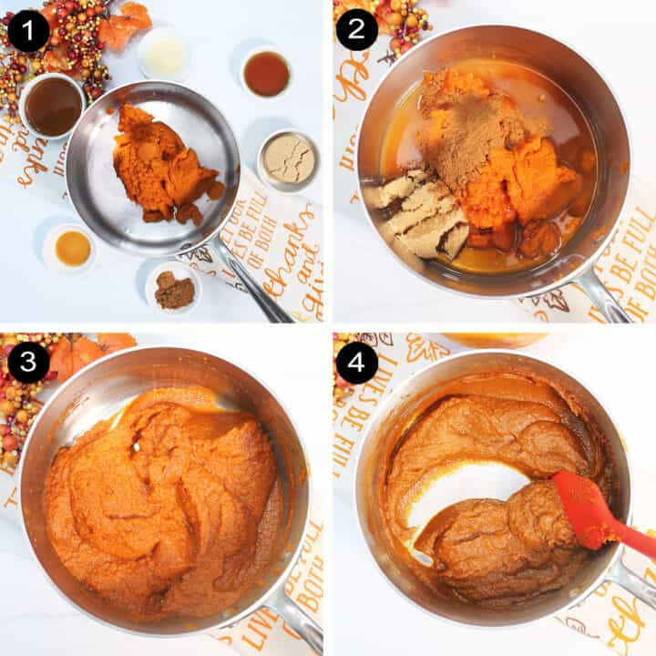Collage of how-to steps for making homemade pumpkin butter.